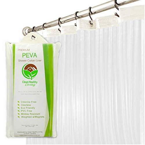 Premium PEVA Shower Liner/Curtain: Odorless & Mildew Resistant (with Magnets & Suction Cups). Eco...