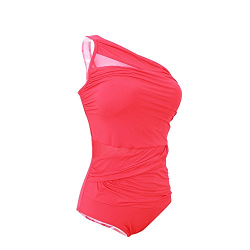 Plus Size One Shoulder Red Swimwear Mesh Patchwork Swimsuits-KJ1001-RD4