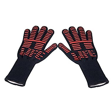 TTLIFE BBQ Grilling Cooking Gloves - 932°F Extreme Heat Resistant Gloves - 1 Pair (Long) - 14  Long For Extra Forearm Protection
