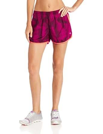 "Champion Double Dry® RELAXED 4"" Women's Sport Shorts, XL-Tiki Bamboo Hatch/Tiki/White"