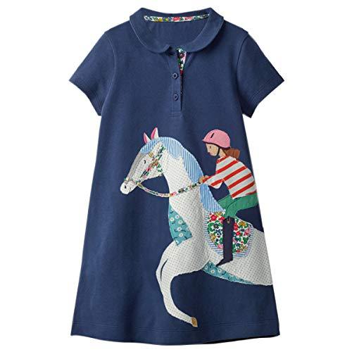 Almost Girls T-shirt - Little Girls Dress Casual Cotton Kids Unicorn Appliques Striped Jersey Dress (6T, 1gds100)
