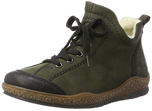 Femme Hautes Rieker Baskets schwarz forest L6912 Vert qtzEc4z