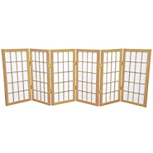 Oriental Furniture Extra Wide Short Size Folding Wood and Paper Shade 2-Feet, 24-Inch Tall Window Pane Desktop Japanese Privacy Screen, 6 Pnl. Nat.