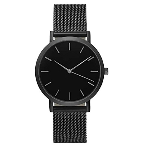 Womail Unisex Casual Unique Classic Business Fashion Mesh Belt Quartz Strap Wrist Watch Stainless Steel Case (Black)