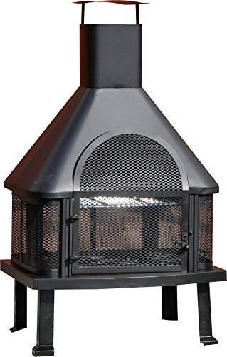 Kingfisher LBBQ BBQ Time Log Burner Chiminea BBQ - Black