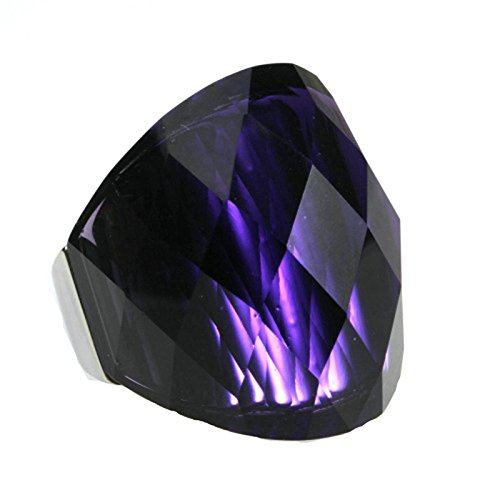 Bishilin Stainless Steel Rings for Women Men Geometric Clear Cubic Zirconia Stone Ring Dark Purple Size 8