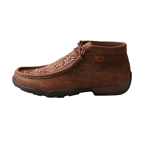 Lace Women's Tooled Moccasins Brown Tooled Toe up Twisted Flowers Leather D X Brown Driving Flowers tH5CwO