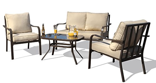 Kozyard Sonrisa Patio 4 PCs Padded Conversation Sets with Coffee Table, Beige - Curved arms and an extra wide seat with padded cushion provide a high quality user experience. The unique back cast pattern not only makes the seating sturdier, but also creates an elegant look. A great complement to your patio or other outdoor space. Set Includes: Cushioned loveseat, two iron single chairs with cushions and a powder-coated coffee table Perfect for your patio, backyard, garden and balcony. Eating, gaming or sun bath, fit for your want. - patio-furniture, patio, conversation-sets - 41L4S3MTnIL -