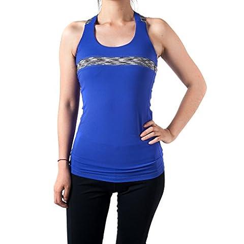 Sportown™ Women's Energy Strappy Cross Back Running Yoga Top Tank with Shelf Bra (L, Purple) (Shelf Bra Tank Plus)