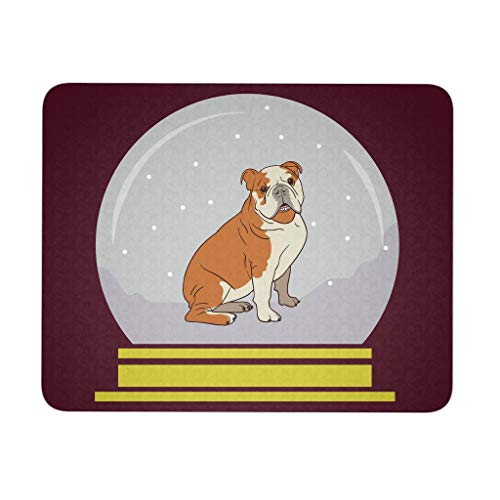 Snow Globe Bulldog Mousepad, Funny Gifts for Dog Lovers