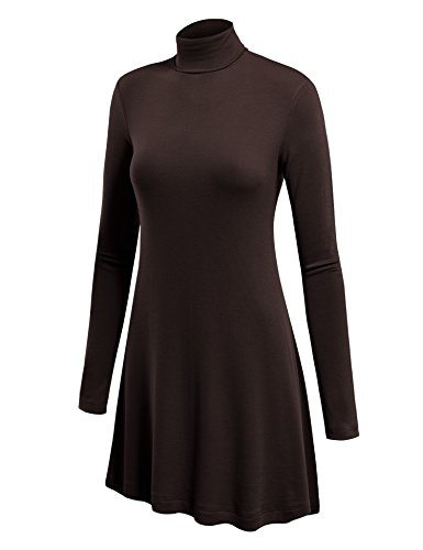 WT992 Womens Long Sleeve Turtleneck Sweater Tunic With Various Hem L Brown