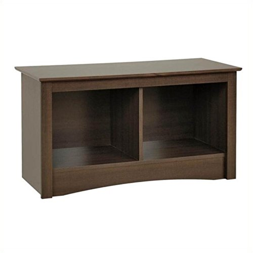Pemberly Row Twin Small Cubbie Storage Bench in Espresso