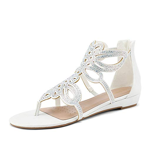 DREAM PAIRS Women's Jewel_02 White Rhinestones Design Ankle High Flat Sandals Size 6.5 M US (Wedding Dress Shoes Flats)