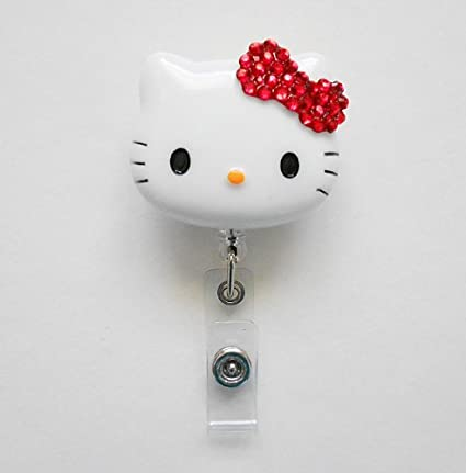 a52e3e569 Image Unavailable. Image not available for. Color: LOVEKITTY 3D Blinged Out  Bow Hello Kitty Rhinestone Retractable Badge Reel / Name Badges / ID