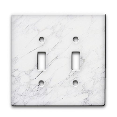Marble Calcatta Pattern on Metal Wall Plate - 2 Gang Switch