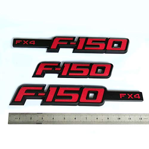 3x Oem F 150 Fx4 Emblem Fender F 150 Rear Tailgate Badge 3d Nameplate Replacement For F150 Origianl Size Genuine Parts Black Red