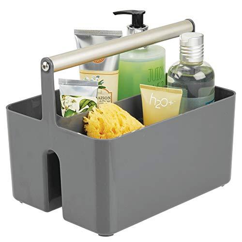mDesign Caja organizadora para cuarto de bano – Cesta con asa para el almacenamiento de productos cosmeticos – Organizador de bano con 2 compartimentos – gris oscuro/plateado mate
