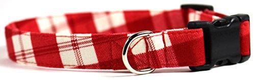 Buffalo Plaid Red, Classic Gingham Designer Dog Collar, Adjustable Handmade Fabric Collars (S – 3/4)