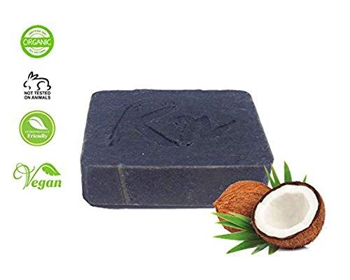 Jabn humectante, sin aroma, casero, natural, negro con carbn activado de cscaras de coco para pieles normales y oleaginosas - orgnico, puro, antienvejecimiento, vegano, 100 g