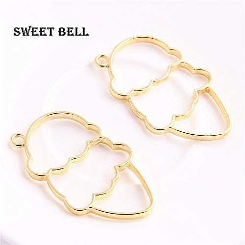 Cell's world - 10pcs 3250mm Alloy Jewelry Setting Accessories Ice Cream Charms Hollow Glue Blank Pendant Tray Bezel Charms DIY Handmade D6168