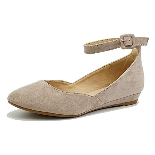Women's Ballet Flat Pointed Toe Buckled Strap Flat Ankle Strap Shoes Taupe 9