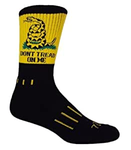 MOXY Socks Black with Yellow Don't Tread on Me! USA Performance Crew Socks