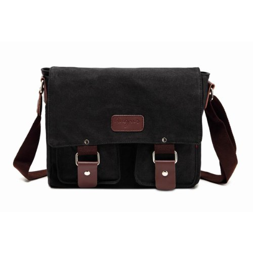 Messenger Bag,Bienna Vintage Military Canvas Satchel Laptop Over Shoulder Crossbody Sling Bag Handbag Side Bags with Leather Straps for Men School Outdoor Sports EDC 15
