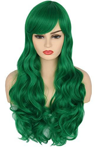Topcosplay Womens Wigs Green Long Big Wavy Cosplay Wig Harajuku Lolita Style Deku Wig Female -