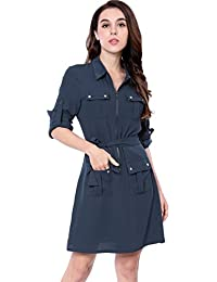 Womens Roll up Sleeves Multi-Pocket Above Knee Belted Shirt Dress