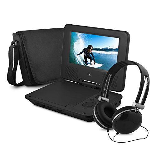 Ematic Personal DVD Player with 7-Inch Swivel Screen, Headphones, Carrying Case, Black