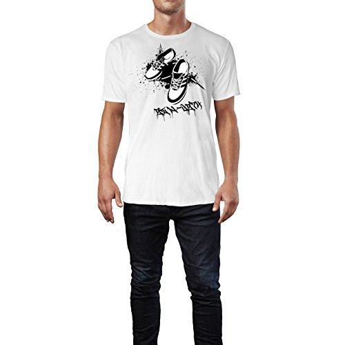 SINUS ART ® Turnschuhe mit schwarzem Splash Herren T-Shirts in Weiss Fun Shirt mit tollen Aufdruck
