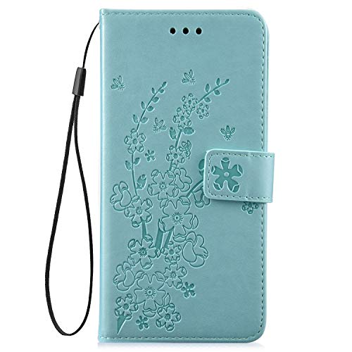 IKASEFU Compatible with Samsung Galaxy S10 Plus Case Emboss Plum blossom Floral Pu Leather Wallet Strap Case Card Slots Shockproof Magnetic Folio Flip Protective Cover Case,Green