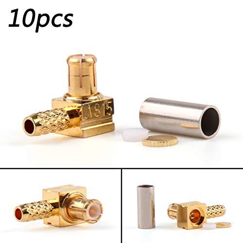 - Areyoushop 10Pcs Connector MCX Male Plug 90¡ã Crimp RG174 RG316 LMR100 Cable Right Angle