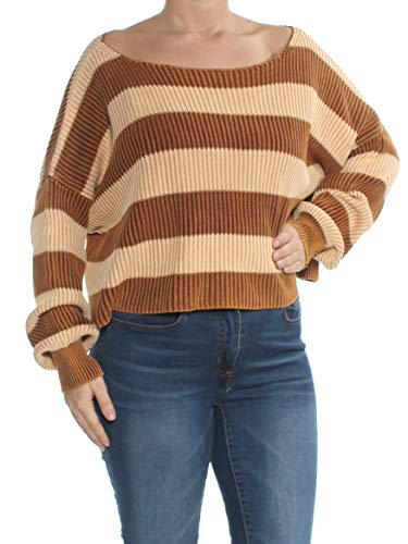 Free People Womens Just My Stripe Cotton Striped Crop Sweater Brown XS