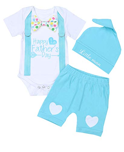 KANGKANG Happy 1st Father's Day Baby Boy Outfit Gentleman Bow Tie Romper+Short Pants+Little Man Hat 0-3 Months Blue