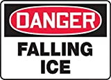 Accuform Signs 10'' X 14'' Red, Black And White 0.055'' Plastic Construction Site Sign ''DANGER FALLING ICE'' With 3/16'' Mounting Hole And Round Corner