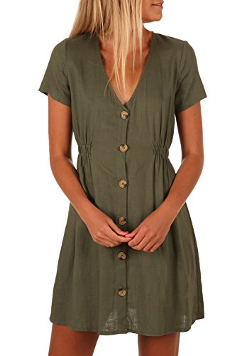 ZESICA Womens Summer Short Sleeve V Neck Solid Color Button Down Casual Midi Dress with Pockets