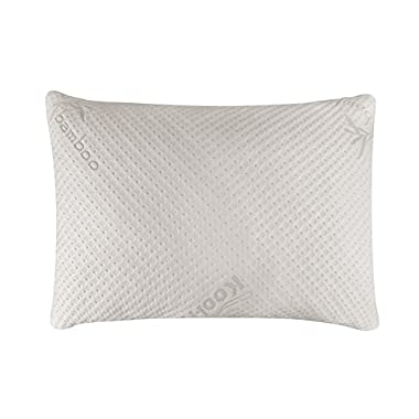 Snuggle-Pedic Ultra-Luxury Bamboo Shredded Memory Foam Pillow Combination | Kool-Flow Micro-Vented Cover | Certified USA Manufacturer | 90 Day Refund & Free Exchange Policy (Queen)