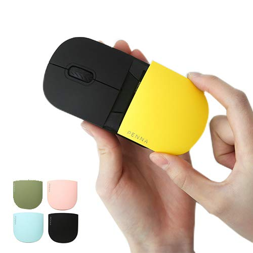 Elretron PENNA 2.4G Wireless Portable Mobile Mouse Retro Style Optical Mice with USB Receiver for Notebook, PC, Laptop, Computer, Mac - Olive Green Mouse + Extra Cover 4P