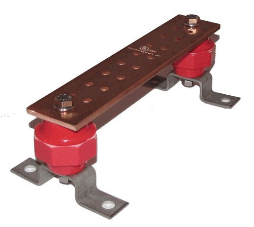 Wall Mounted Copper Ground Bus Bar Kit- Thickness .25 Width 2 Length 10 SCGB-1KT