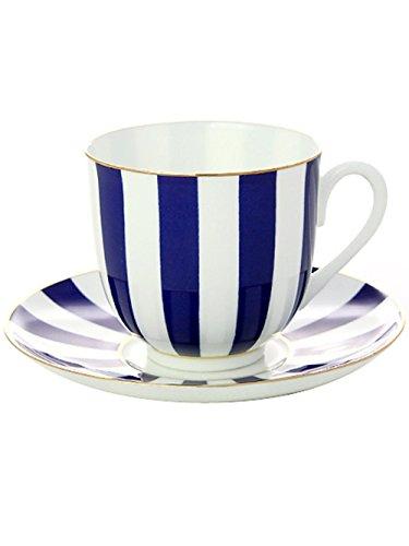 Lomonosov Porcelain Bone China Tea Cup and Saucer Cobalt Blu