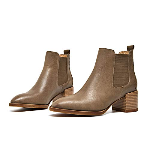 Office MGM Dress Toe Joymod Work Pointed Winter Chelsea Elastic Fall Booties Khaki Ankle Mid Women's on Leather Thick Boots Heel Slip gc1qWgf