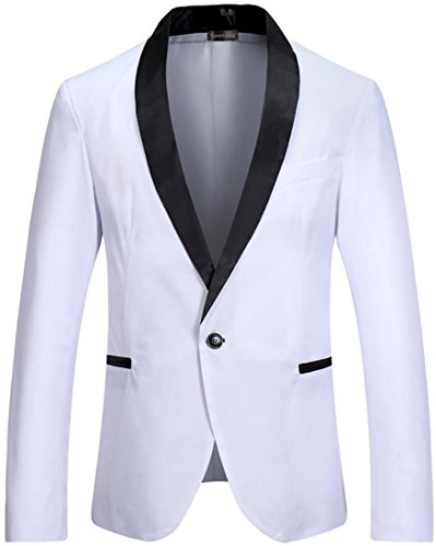 Sportides Men's Slim Fit Casual One Button Blazer Jacket Suits JZA129 White S ()