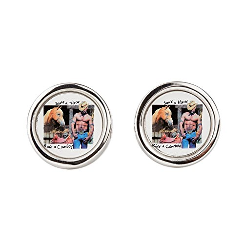 Cufflinks (Round) Country Western Cowgirl Save A (Save A Horse Ride A Cowboy Costume)
