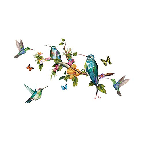 Jaromepower Garden Birds on Tree Branch Kids Wall Stickers, Kids Nursery Bedroom Living Room Flowers Wallpaper, Butterfly Floral Life and Vigour Art Wall Decals