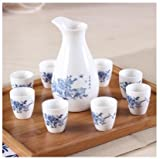 Brand New Ceramic bar set hip flask maotai sub wine liquor cup shot glass small handless winecup wine Peony