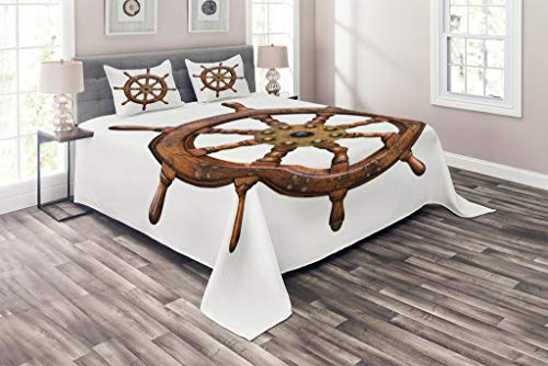Lunarable Ships Wheel Coverlet Set Queen Size, Wooden and Brass Ship's Steering Wheel Antique Aged Historic Wood Natural, 3 Piece Decorative Quilted Bedspread Set with 2 Pillow Shams, Redwood White ()