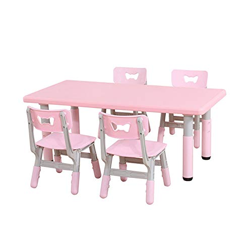 - ZH Adjustable Height for Kids Tables and Chairs, Toddlers Rectangular Plastic Table and 4 Chairs (4 Children Seats and 1 Table Set)