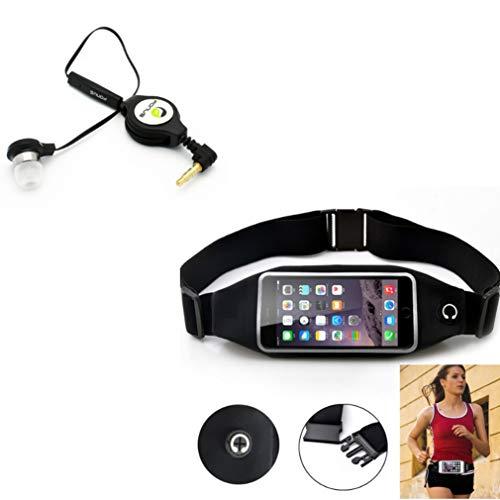 Black Sport Workout Belt Waist Bag Case w Retractable Headset Mono Handsfree Earphone Mic Z4J Compatible with Alcatel 1x Evolve - iPhone 6S Plus 6 Plus - ASUS Zenfone V Live, PadFone X