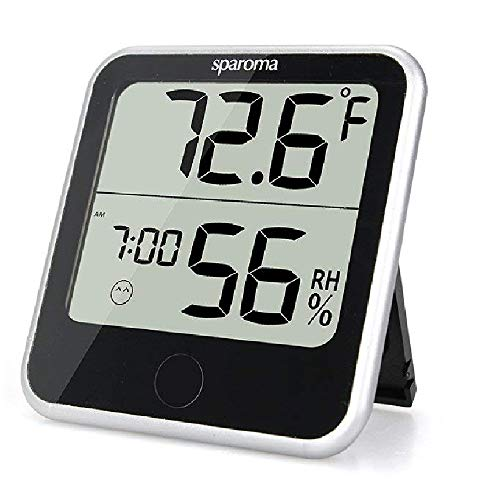 (Indoor Humidity Temperature Monitor - Digital Hygrometer Humidity Meter with Temperature Humidity Gauge, Built-in Clock and Time Display for Temperature Humidity Measurement )